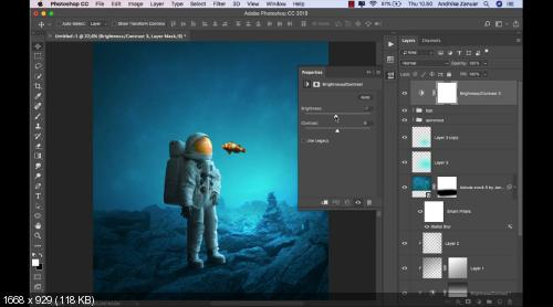 Фотоманипуляция: астронавт и рыбка. Fantasy Manipulation Astronaut and Fish (2019)