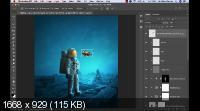 Фотоманипуляция: астронавт и рыбка. Fantasy Manipulation Astronaut and Fish (2019/WEBRip)
