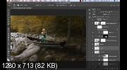 Фотоманипуляция. Девушка в лодке. Тени и магкий свет (2019)