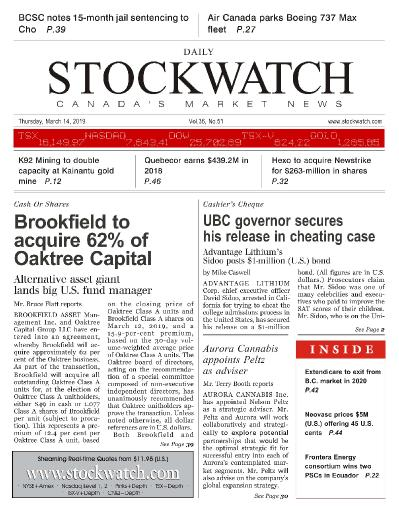 Stockwatch - Canada Daily - March 14, (2019)