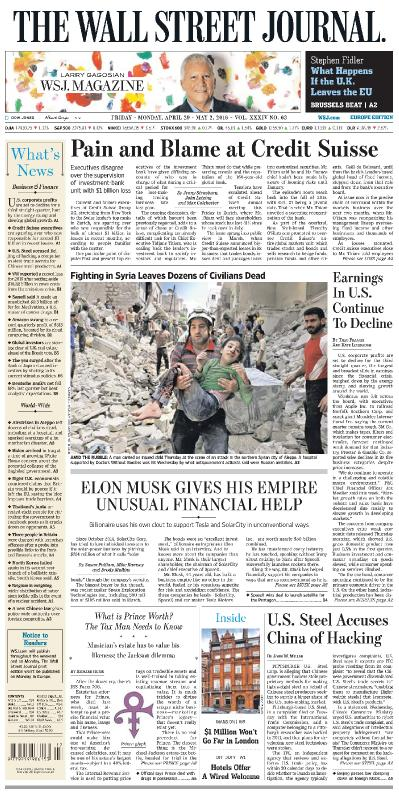 The Wall Street Journal Europe - 29 April (2016)
