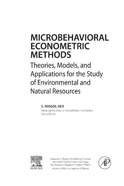 Microbehavioral Econometric Method S  Niggol Seo